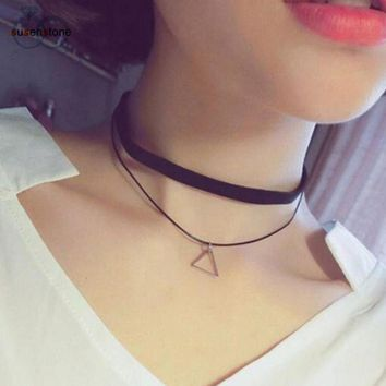 SUSENSTONE Triangle Geometric Pendant Necklaces Sexy Black Charm Bohemia Necklace for Women Leather Choker Necklace