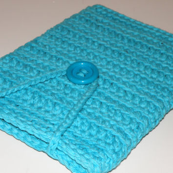 Large eReader Tablet Sleeve, Lap Top Tablet Case For larger Kindle Fire HD, Nook HD, Thick Crochet Cotton Tablet Cover in Turquois Blue