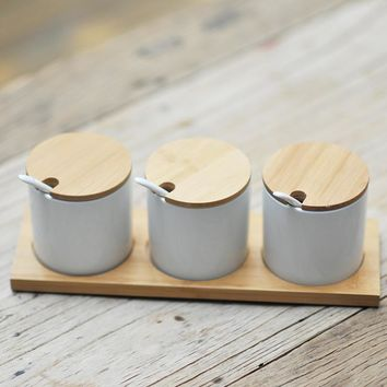 Simple life Creative Ceramics kitchen food containers organizer jars for spices sugar-bowl condiment box kitchen storage bottles
