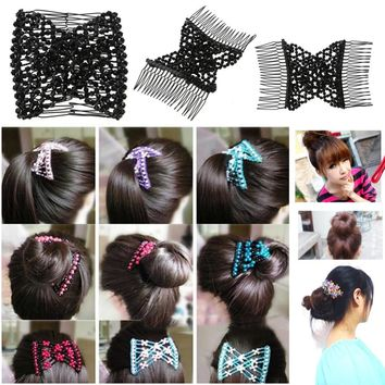 Women's Hair Accessories Fine M Mism Fashion Vintage Pearl Hair Combs Double Magic Slide Metal Comb Clip Hairpins For Women Hair Accessories New Hair Jewelry