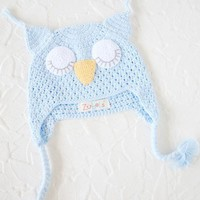 crochet owl hat in blue at ShopRuche.com