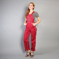 70s DENIM OVERALLS / Fitted Burgundy Red Carpenter Jumpsuit, xs