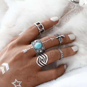 5 PCS/SET Vintage Eagle Ring Sets Fashion Tibetan Silver Color Turquoise Midi Ring for Women Antique Stone Men Rings