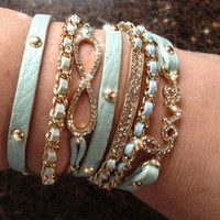 ARM CANDY LEATHER WRAP INFINITY STACK BRACELET LOVE CRYSTALS MINT  GOLD CHAIN