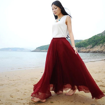 Burgundy Red Chiffon Maxi Skirt Long Sundress maternity Wear Holiday Maxi Dress Skirt Beach Skirt  honeymoon skirt