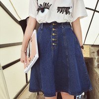2016 free shipping new arrival denim skirts womens a-line jeans front button skirt women knee-length  jean skirt