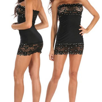 Lace And Rhinestone Adorened Mini Dress