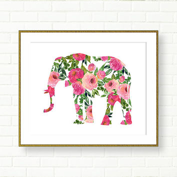 Elephant Illustration, Floral, Boho, Pink Green, INSTANT DOWNLOAD, Modern Nursery, Office Decor, PRINTABLE, Garden, Fashion, Glam, Outline