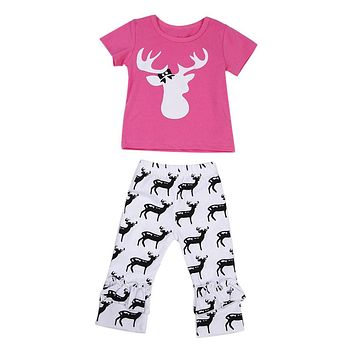 Baby Girls Clothes Set Kid Cartoon Deer Print Short Sleeve Top Tees + Pants Trousers Outfits