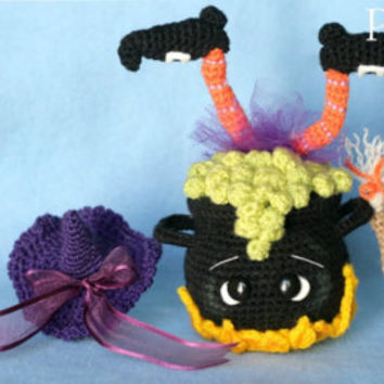 Elfin Thread -Halloween Witch Cauldron Amigurumi PDF Pattern (Crochet Witch Cauldron decor pattern)