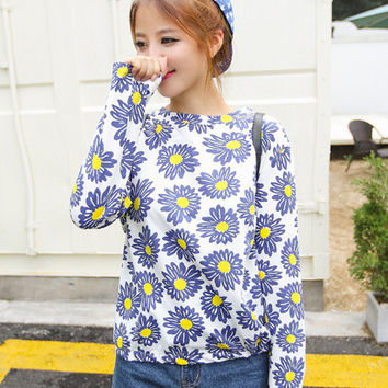 White Sunflower Print Long Sleeve T-Shirt