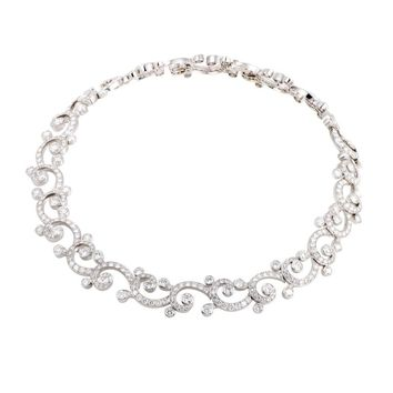 Cartier Dentelle Full Diamond Pave and Platinum Collar Necklace