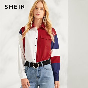 SHEIN Multicolor Button & Pocket Up Color Block Top Casual Workwear Long Sleeve Shirt Blouses Women Autumn Elegant Blouse
