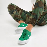 Converse Embroidered One Star Trainers In Green at asos.com