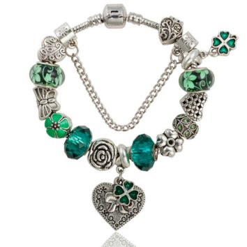 Anna Bell new retro flower pendant crystal glass beads alloy dark green bracelet