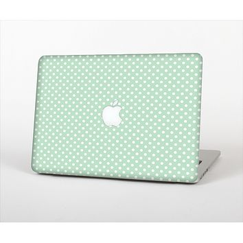 "The Light Green with White Polkadots Skin Set for the Apple MacBook Pro 13"" with Retina Display"