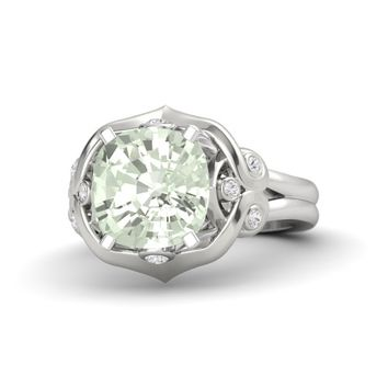 Cushion Green Amethyst Sterling Silver Ring with White Sapphire