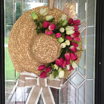 Floppy Hat Summer Wreath, Summer door hanger, Front Door Wreath, Floral Wreath, Ready to Ship