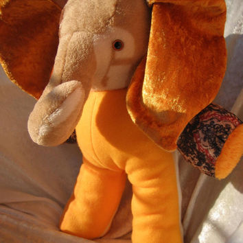 "Mango ELEPHANT GEORGE - with Initial ""G"" on his left face - orange earthy home decor soft stuffed plush toy Animal - unique handmade Ooak"