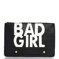 BAD GIRL Graphic Clutch Faux Leather Zipper 3AM from ROXX at ShopRoxx.com