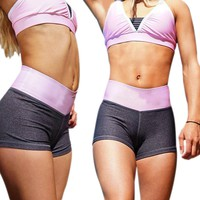 Women's Sports Quick-Drying Breathable Fitness Running Yoga Shorts Stretch Solid Athletic Shorts Dance Yoga Shorts