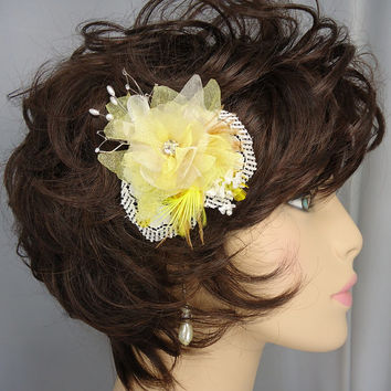 Yellow Champagne Organza Lace Flower Hair Clip