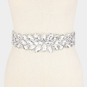 crystal rhinestone wedding belt with white satin belt #wb6572-333774