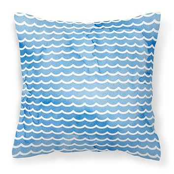 Beach Watercolor Waves Fabric Decorative Pillow BB7531PW1818