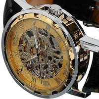 Classic Men's Black Leather band Skeleton Mechanical Sports Army Wrist Watch cool ( Pls wind watch when received) = 1645389956