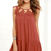 Unforgettable Rust Red Lace Dress