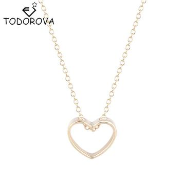 Todorova Popular Brand Jewelry Women Necklaces Gold Silver Peach Love Heart Best Friends Pendant Girlfriend Gifts For Girls