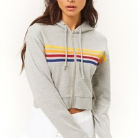Active Rainbow-Striped Zip-Up Hoodie