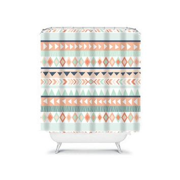 Aztec SHOWER CURTAIN, Aztec Bathroom, Aqua Coral, Tribal Shower Curtain, Dorm Bathroom, Personalized Girl Bath, Bath Towel Bath Mat