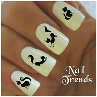 Cat Nail Decal. 20 Vinyl Stickers Nail Art