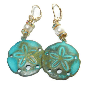 Turquoise Sand Dollar Earrings