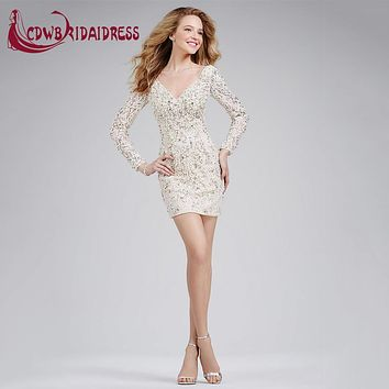 Vintage Long Sleeve Ivory Lace Short Cocktail Dresses With Beaded Pearls Deep V Neck V Back Zipper Mini Party Gowns For 8th