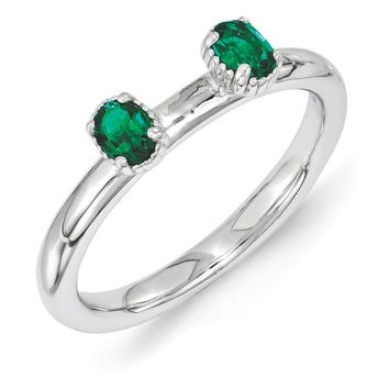 Sterling Silver Stackable Created Emerald Oval Two Stone Ring