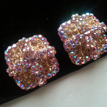 Vintage Pink Rhinestone Clip On Earrings Mid Century Collectible Costume Jewelry 1950s
