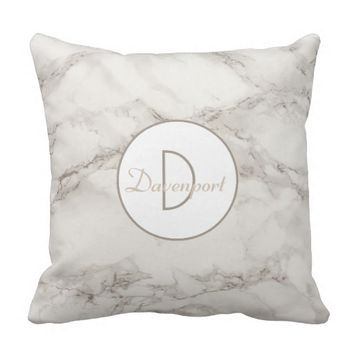 Faux Marble Alabaster Taupe Personalized Modern Throw Pillow