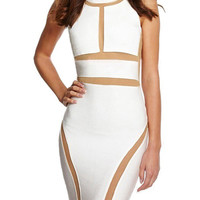 Sexy Cut White Bodycon Clubwear Party Bandage Dress
