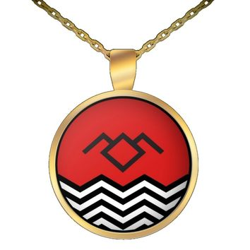 "Twin Peaks Jewelry - Black Lodge Floor Owl Cave Symbol - The Return TV Series - Pendant Necklace with 22"" Chain (Gold)"