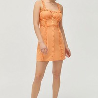 UO Luxe Dreams Button-Front Ruffle Mini Dress | Urban Outfitters