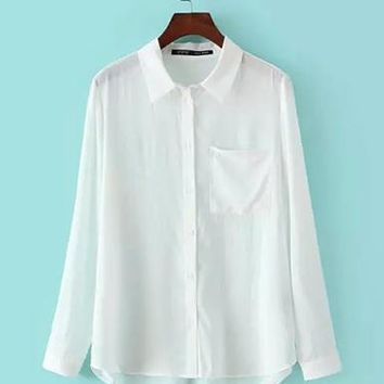 Womens White Tailored Shirt - Long Sleeves / Narrow Cuffs / Front Pocket
