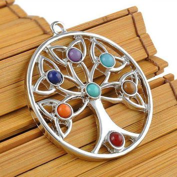 CREY78W Energy Jewelry Women Charm Nature Beads Reiki Healing Point Chakra Pendant Crystal  Tree Flower Angel Wings Pattern Necklace