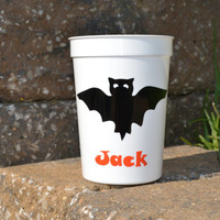 5 personalized Halloween party favor cups white with black bat