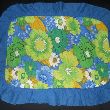 60s Bedding / Groovy Hippie Flower Power Pillow Sham / Retro Floral Decorative Pillow Case with Blue Ruffles Standard Size