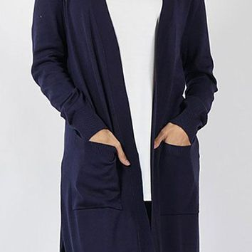 Pocket Cardigan - Navy