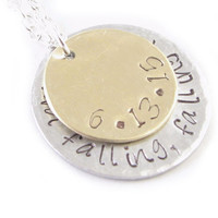 Two Tone Hand Stamped Personalized Necklace, Hammered Layered Sterling Silver Brass Pendant