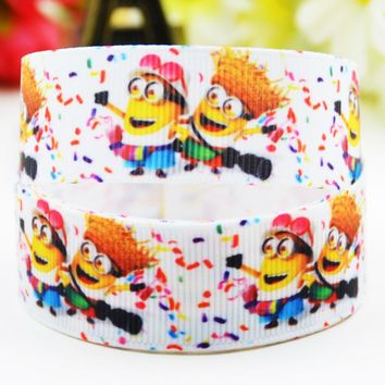 "7/8"" 22mm Minions Cartoon Printed grosgrain ribbon party decoration satin ribbons Hairbow sewing supplies OEM 10 Yards X-01714"