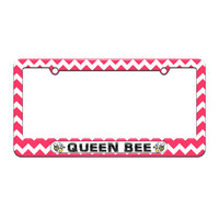 Queen Bee - Bumble Bee - License Plate Tag Frame - Pink Chevrons Design